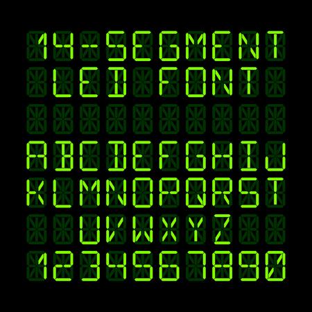segmento: Catorce LED de visualizaci�n del segmento letras y n�meros Vectores