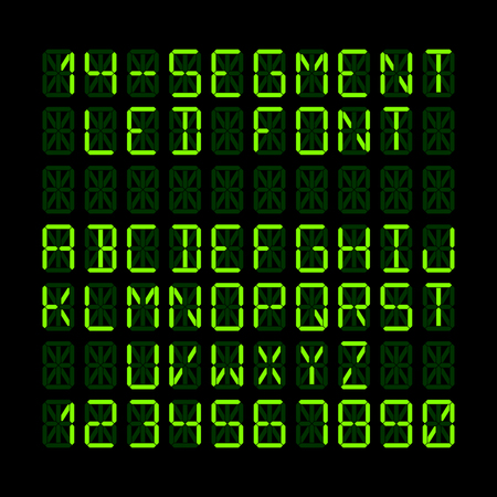 led display: Fourteen segment LED display letters and numerals