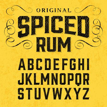 etiqueta: Ron con especias, fuente de estilo vintage con diseño de la muestra. Ideal para cualquier diseño de estilo vintage. Vectores