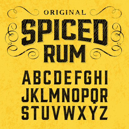 in english: Spiced rum, vintage style font with sample design. Ideal for any design in vintage style.