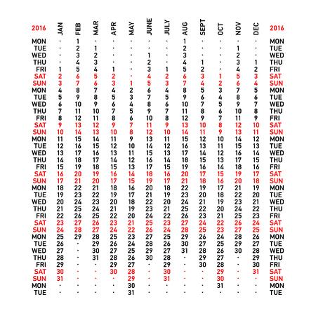 weekly planner: Vertical calendar 2016. Week starts Monday. Illustration