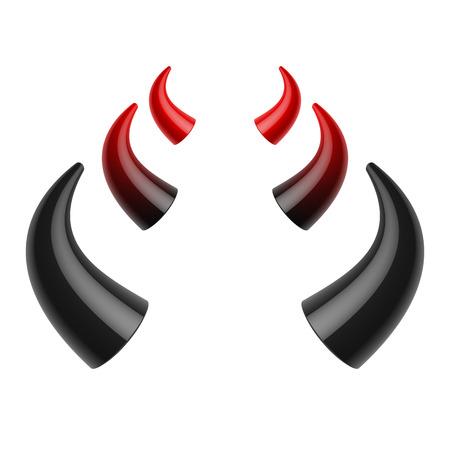 cuernos: Los cuernos del diablo rojo y negro