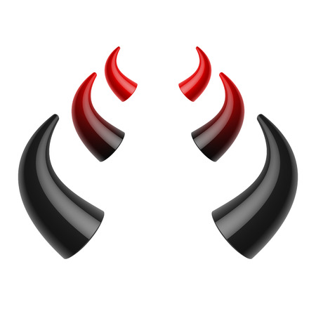 schwarz: Rote und schwarze Teufel Hörner