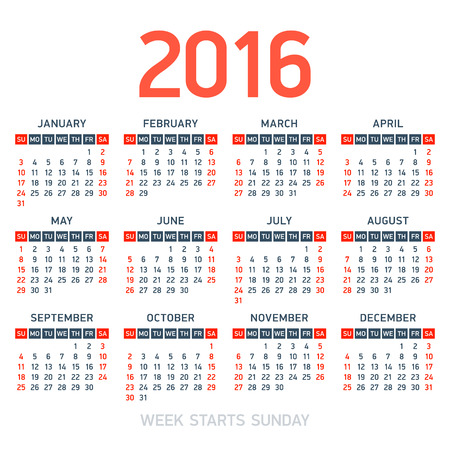 calendar: Calendar 2016. Week starts Sunday. Illustration