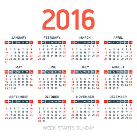 kalendarz: Kalendarz 2016. Tydzień rozpoczyna się w niedzielę.