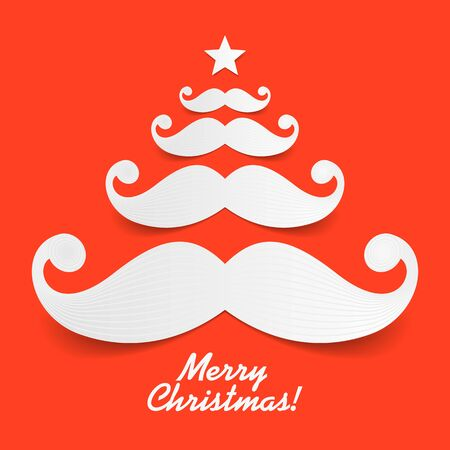 barber: Mustache Christmas tree greeting card Illustration