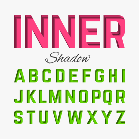 english alphabet: Inner shadow font