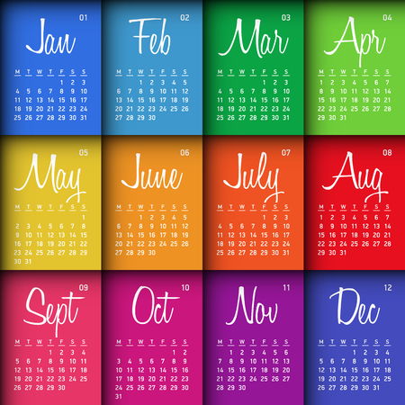 week: Colorful calendar 2016. Week starts Monday. Illustration