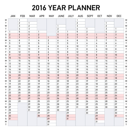 week: 2016 year planner. Week starts Monday.