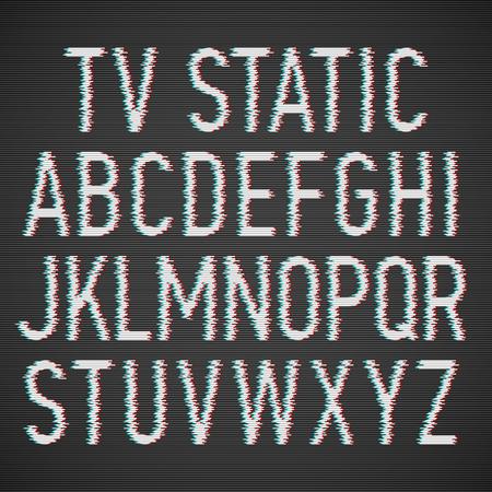stereoscopic: TV static effect font Illustration
