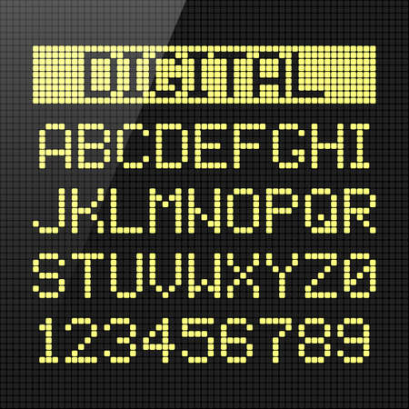 numbers: Digital font, alphabet and numbers