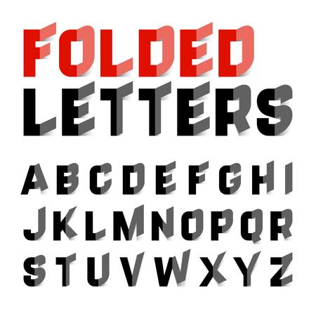 schwarz: Gefaltete Buchstaben des Alphabets Illustration