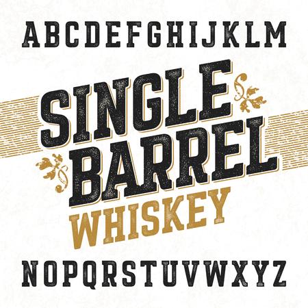 botella de whisky: Solo whisky de barril fuente de la etiqueta con el diseño de la muestra. Ideal para cualquier diseño de estilo vintage.