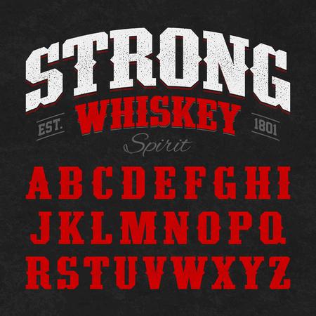 botella de whisky: Fuerte fuente de la etiqueta del whisky con el dise�o de la muestra. Ideal para cualquier dise�o de estilo vintage.