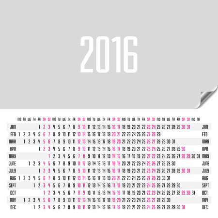 monday: Horizontal calendar 2016. Week starts Monday.