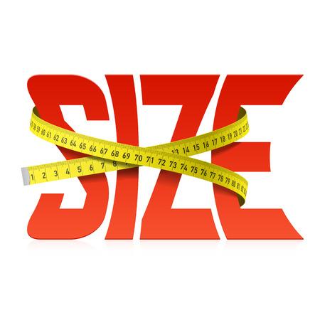 Schiacciato da nastro di misura parola Size