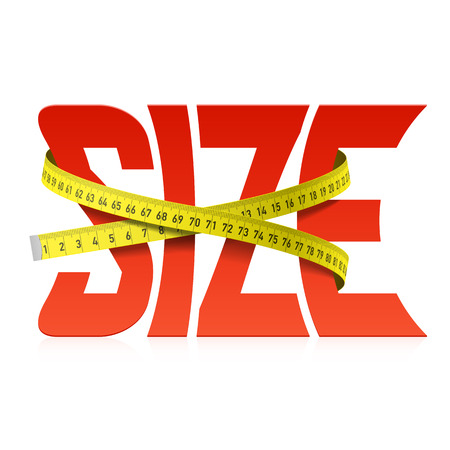 size: Squeezed by tape measure word Size