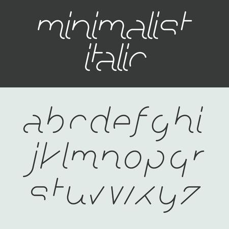 letters of the alphabet: Minimalist italic alphabet, lowercase letters Illustration