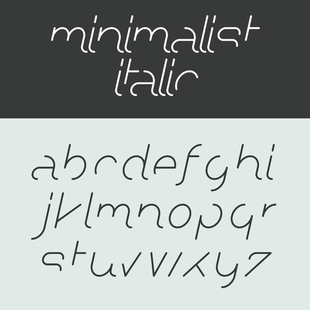 Minimalist italic alphabet, lowercase letters Illustration
