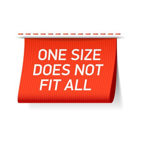 etiquetas de ropa: Un tamaño no sirve para todos etiqueta Vectores