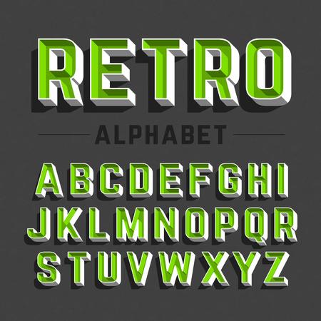 Retro style alphabet Illustration