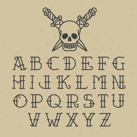 cartas antiguas: alfabeto tatuaje de la escuela vieja