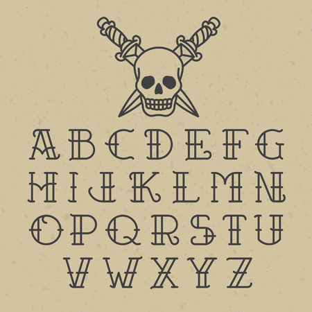 tete de mort: Alphabet de tatouage old school Illustration