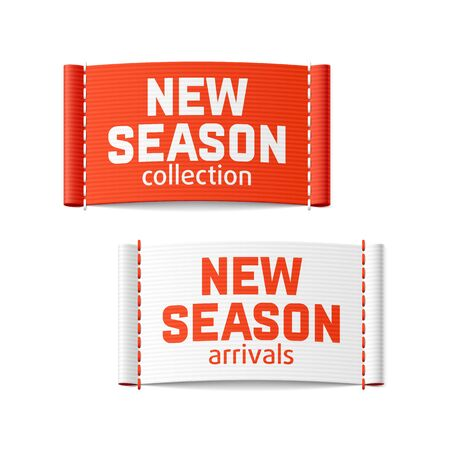 clothing label: New season collection and arrivals labels