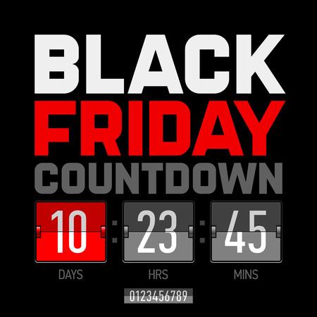 Zwarte vrijdag countdown timer Vector Illustratie