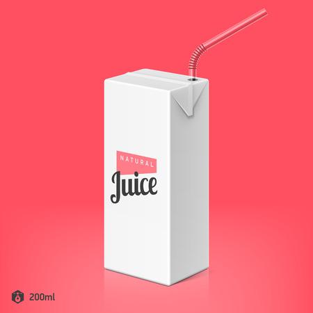 ジュースや牛乳を飲むとストロー パッケージ テンプレート、200 ml