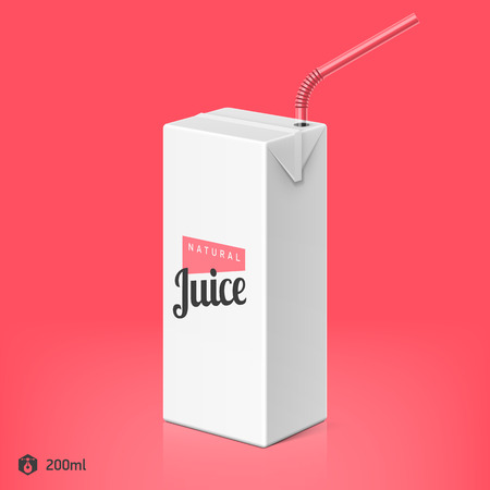 Juice or milk package with drinking straw template, 200ml 일러스트