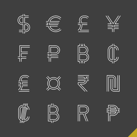 Thin linear world currency symbols icons set with baht, bitcoin, cent, colon, dollar, euro, franc, peso, pound, ruble, rupee, shekel, yen and generic currency sign