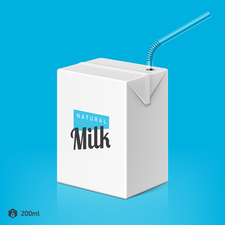 Milk or juice package with drinking straw template, 200ml