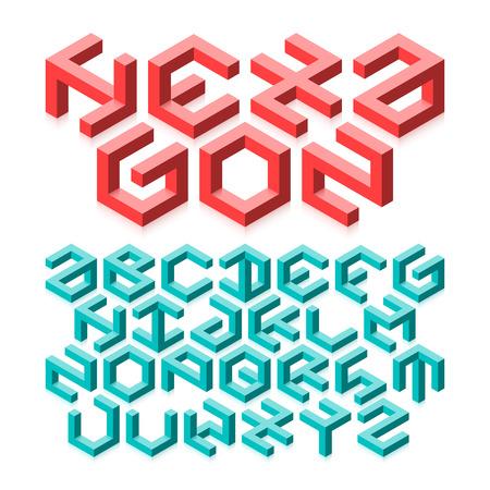 arte optico: Alfabeto hexagonal hecha de formas imposibles