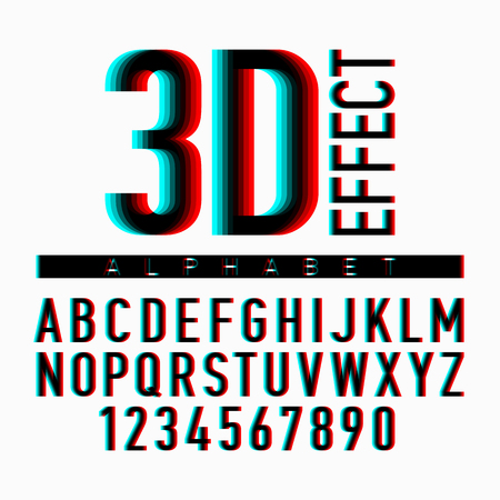 effect: 3D effect alphabet and numbers