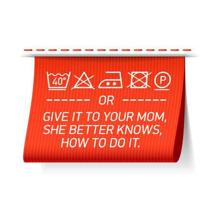laundry tag - follow washing instructions or give it to your mom, she better knows how to do it. Stok Fotoğraf - 48711879