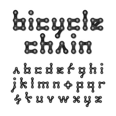 chain links: Bicycle chain alphabet Illustration