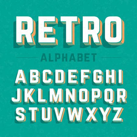 typography vector: Retro style 3d alphabet