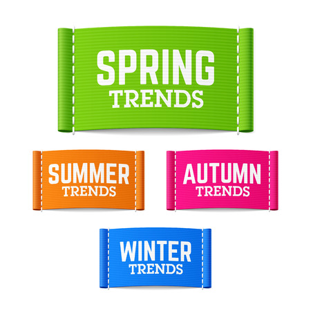 Spring, summer, autumn and winter trends labels Ilustração