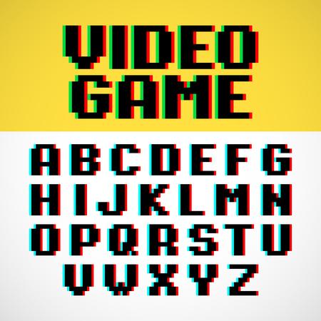 font: pixel font videojuego con una distorsión