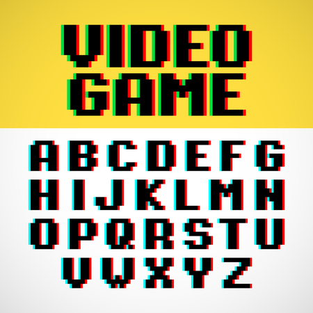 game over: Video game pixel font with distortion