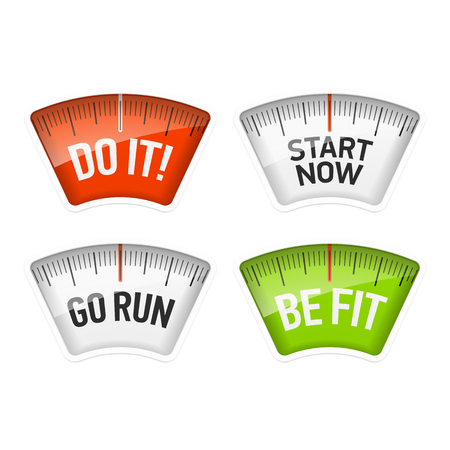 Bathroom scales displaying Do It, Start Now, Go Run and Be Fit messages Çizim