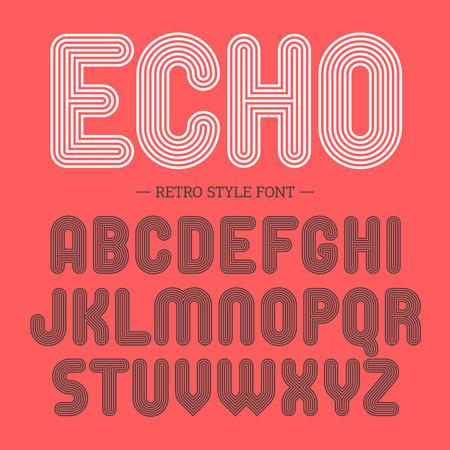 Retro style font, alphabet Illustration