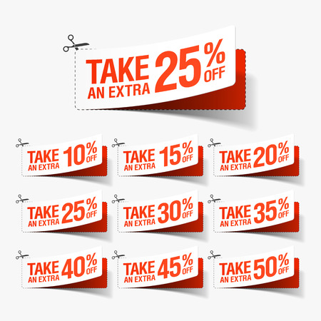 Neem een ​​extra Sale coupons Stock Illustratie