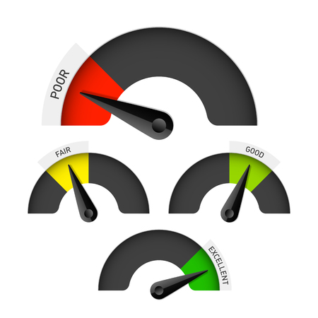 good: Poor, fair, good and excellent colorful gauge Illustration