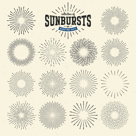 light ray: Collection of sunbursts or bursting rays Illustration