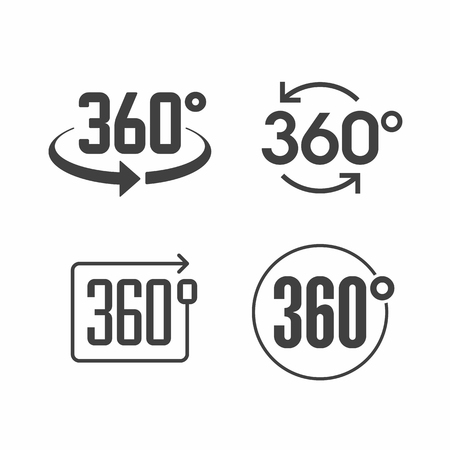 round icons: 360 degrees view sign icon