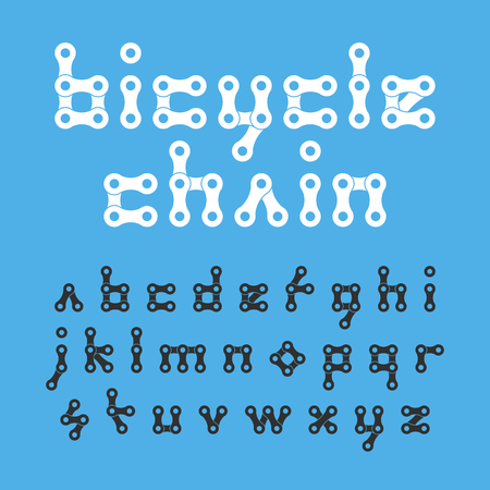 bicycling: Bicycle chain flat style lowercase font Illustration