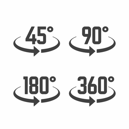 45: 45, 180, 270 and 360 degrees view sign icons