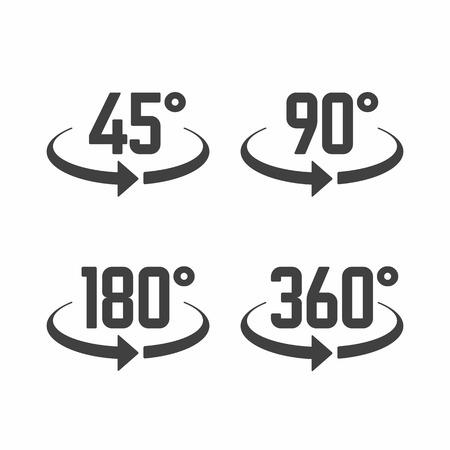 45, 180, 270 en 360 graden te bekijken tekenpictogrammen Stock Illustratie
